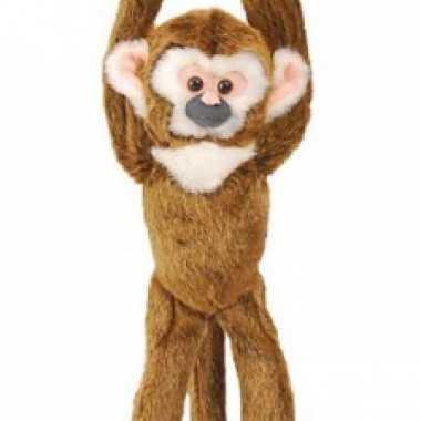 Hangende knuffel aap bruin 43 cm