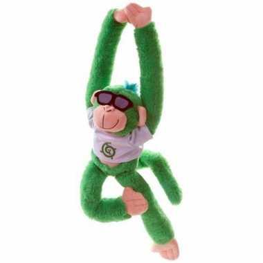 Hangende knuffel aap groen 40 cm