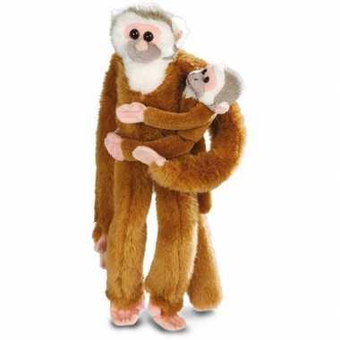 Hangende knuffel aap met baby 43 cm 10048333