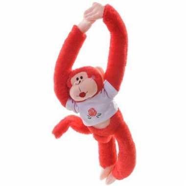 Hangende knuffel aap rood 40 cm