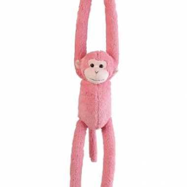 Hangende knuffel aap roze 55 cm