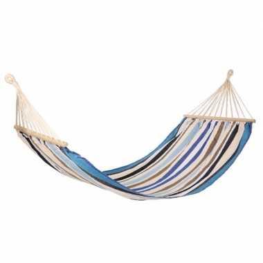 Hangmat ibiza blauw/ecru gestreept 200 x 100 cm