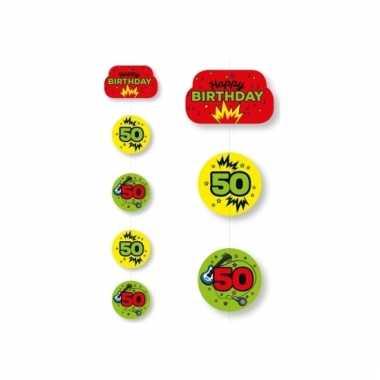 Hangslinger verjaardag 50 jaar geel/groen