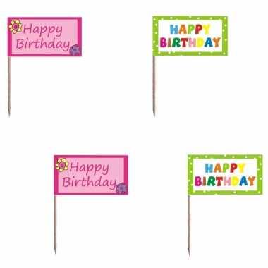 Happy birthday cocktailprikkers 40 stuks