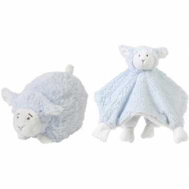 Happy horse blauwe schaap/lam liggend baby knuffeltje en knuffeldoekj