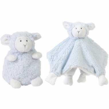 Happy horse blauwe schaap/lam zittend baby knuffeltje en knuffeldoekj