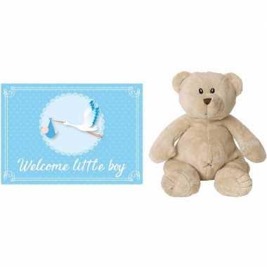 Happy horse bruine beren knuffels + geboortekaartje welcome little bo