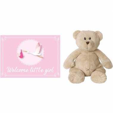 Happy horse bruine beren knuffels + geboortekaartje welcome little gi