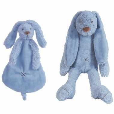 Happy horse donker blauw konijnen baby knuffeltje en knuffeldoekje ri