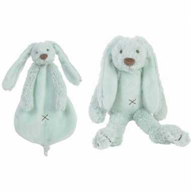 Happy horse mint konijnen baby knuffeltje en knuffeldoekje richie voo