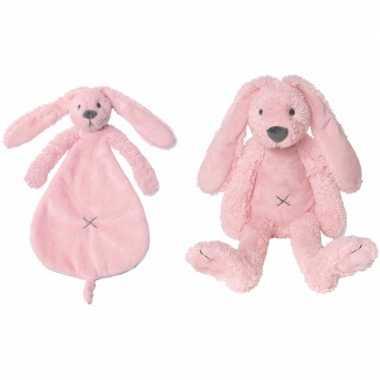 Happy horse roze konijnen baby knuffeltje en knuffeldoekje richie voo