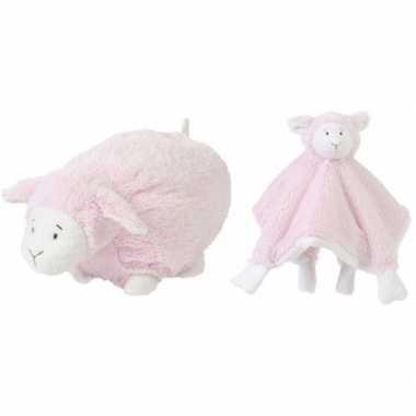 Happy horse roze schaap/lam liggend baby knuffeltje en knuffeldoekje