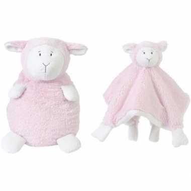 Happy horse roze schaap/lam zittend baby knuffeltje en knuffeldoekje