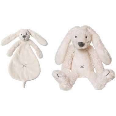 Happy horse witte konijnen baby knuffeltje en knuffeldoekje richie