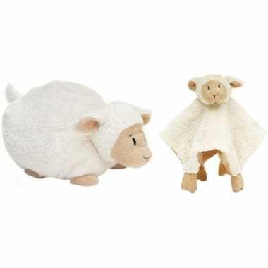 Happy horse witte schaap/lam liggend baby knuffeltje 26 cm en knuffel