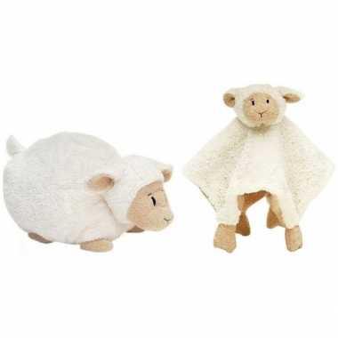 Happy horse witte schaap/lam liggend baby knuffeltje en knuffeldoekje