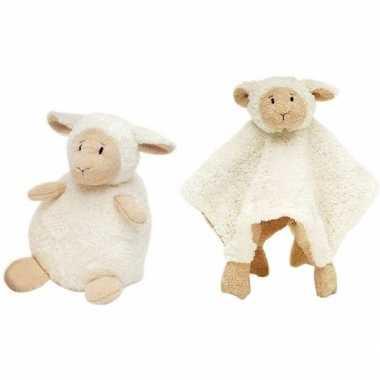 Happy horse witte schaap/lam zittend baby knuffeltje en knuffeldoekje