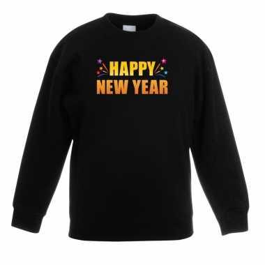 Happy new year sweater/ trui zwart voor kinderen