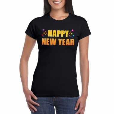 Happy new year t-shirt zwart voor dames