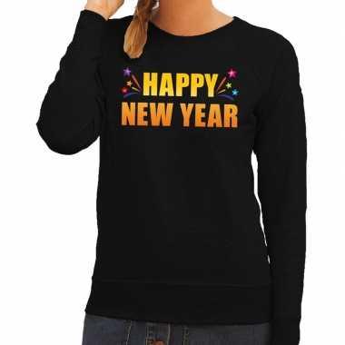 Happy new year trui/ sweater zwart voor dames