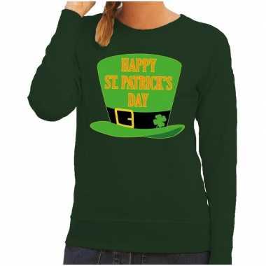 Happy st. patricksday sweater groen dames