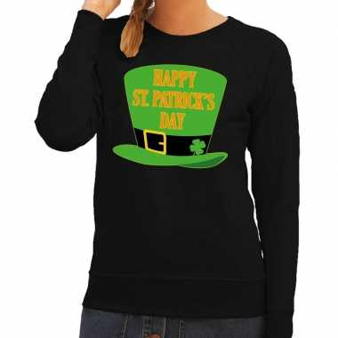 Happy st. patricksday sweater zwart dames