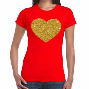 Hart goud glitter fun t-shirt rood dames
