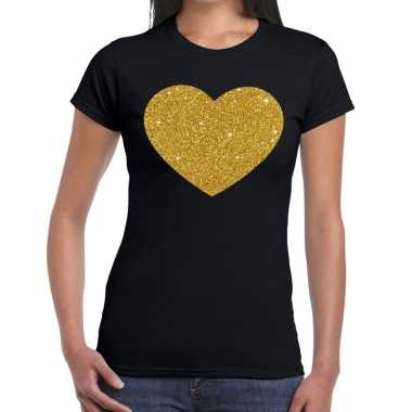 Hart van goud glitter fun t-shirt zwart dames
