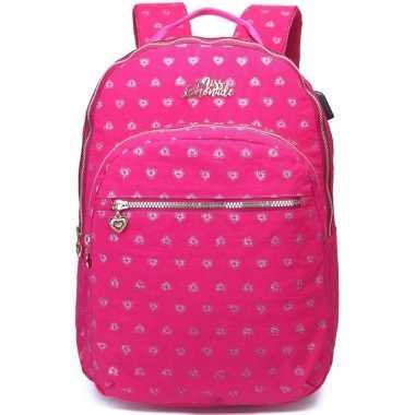 Hartjes backpack/rugzak roze met zilver 32 x 42 cm marshmallow voor d