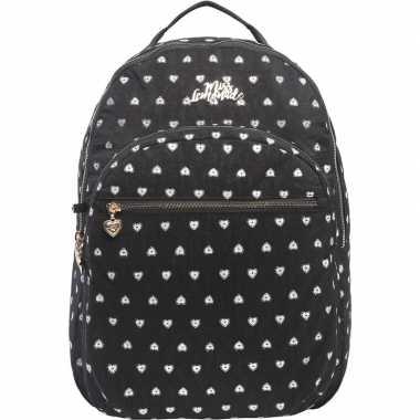 Hartjes backpack/rugzak zwart met zilver 32 x 42 cm marshmallow voor