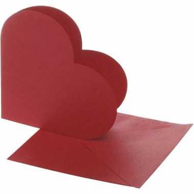 Hartvormige blanco kaarten rood 10x