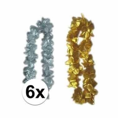 Hawaii bloemenkransen zilver/goud 6 stuks