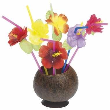 Hawaii rietjes met bloem 24 stuks