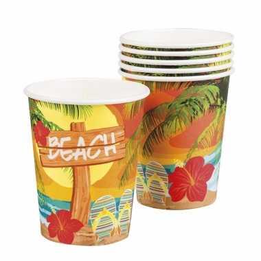 Hawaii thema bekertjes 6 stuks
