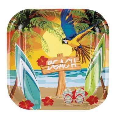 Hawaii thema bordjes 6 stuks