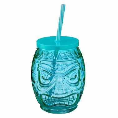 Hawaiiaanse cocktail beker met rietje blauw