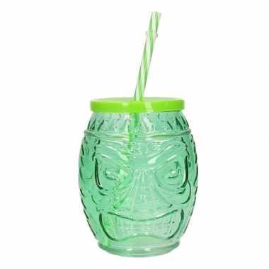 Hawaiiaanse cocktail beker met rietje groen