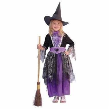 Heksen jurk zwart/paars kinderen