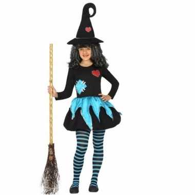 Heksen kostuum blauw zwart voor kinderen