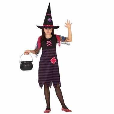 Heksen kostuum paars/zwart voor meisjes