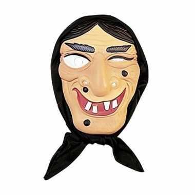 Heksen masker zwart haar met hoofddoek