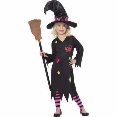 Heksen meisjeskleding rosy zwart met roze