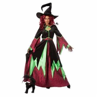 Heksen outfit rood/groen vrouwen