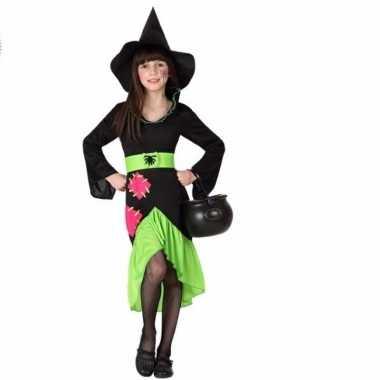 Heksen outfit zwart/groen voor meisjes