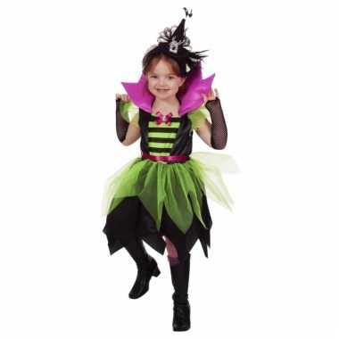 Heksen verkleed jurkje groen/zwart voor meisjes
