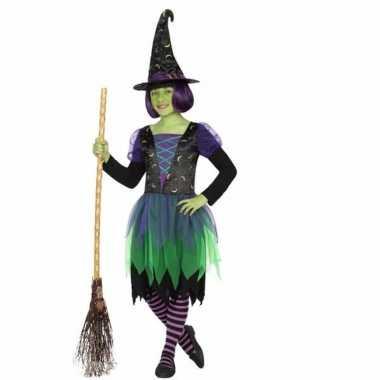 Heksen verkleedkleding groen zwart voor kids