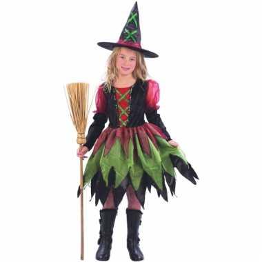 Heksenjurk voor meisjes rood groen