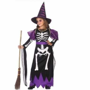 Heksenkleding met skelet opdruk voor meisjes