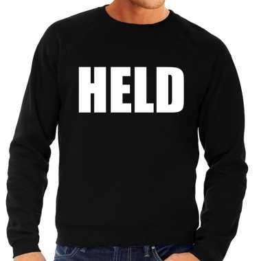 Held tekst sweater / trui zwart voor heren