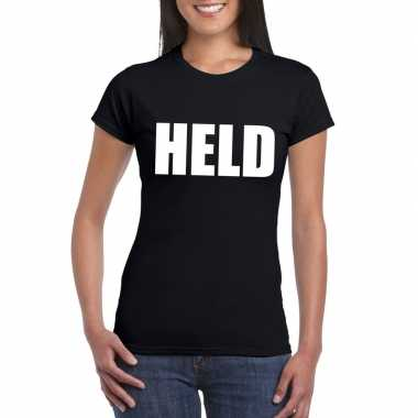 Held tekst t-shirt zwart dames